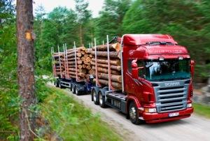 Scania R 620 6x4 Highline timber truck with trailer. Södertälje, Sweden. Photo: Dan Boman, 2007-06
